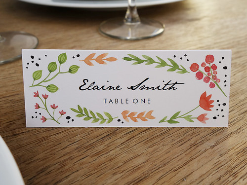 Printable Place Cards - Water Color Florals