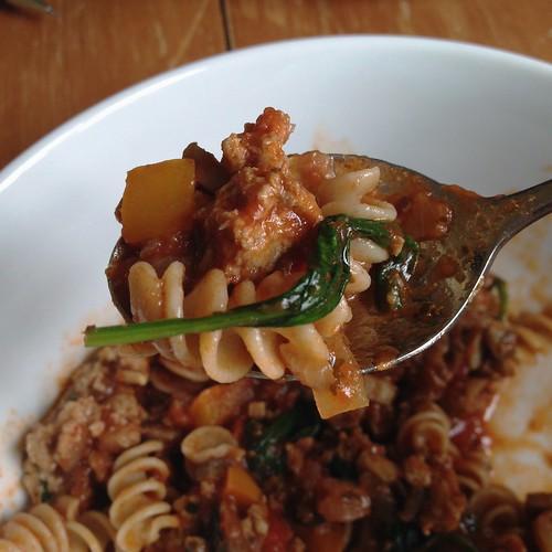 a bite of all the veggies turkey pasta