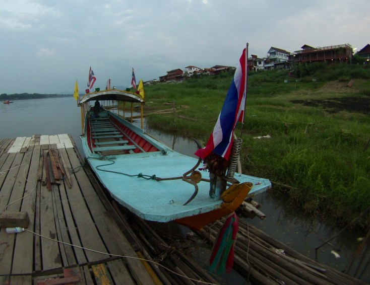 Long-tial boat on Mekong River, Chiang Khan. March 2015