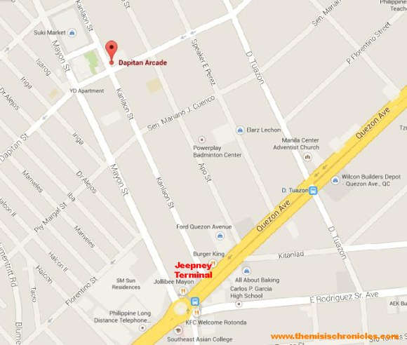 map to Dapitan Arcade