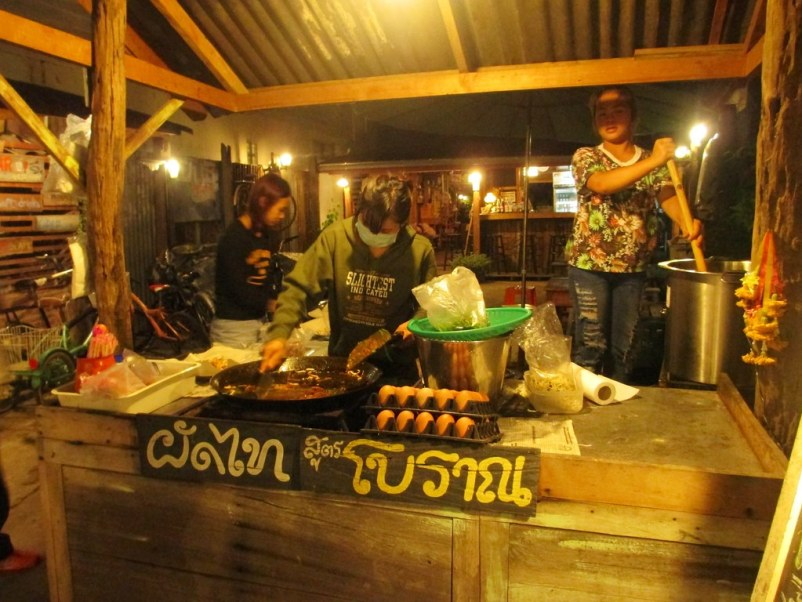 Pad Thai Vendor in Chiang Khan in the Loei Province, Thailand, March 2015.