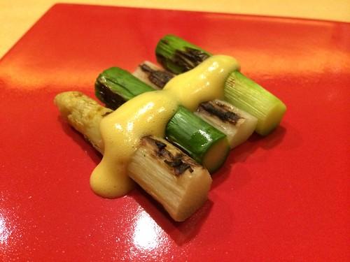 季節の焼き野菜 2種類のアスパラガス オランデーズソース@瀧口