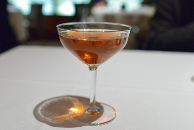51st St. Manhattan michter's rye, dolin dry vermouth, amaro nonino, benedictine, angostura bitters, brandied cherry