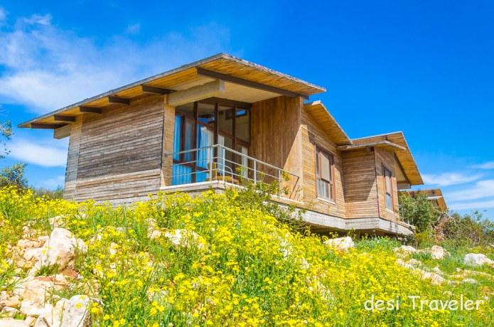 Wood cabins Ajloun Forest reserve Wild Jordan