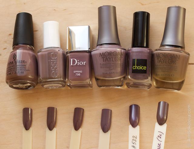 12 Dior #798 Spring comparison vs China Glaze Below Deck, Essie Merino Cool, Morgan Taylor #66 Dress Code, Choice 522, Morgan Taylor #77 Latte Please