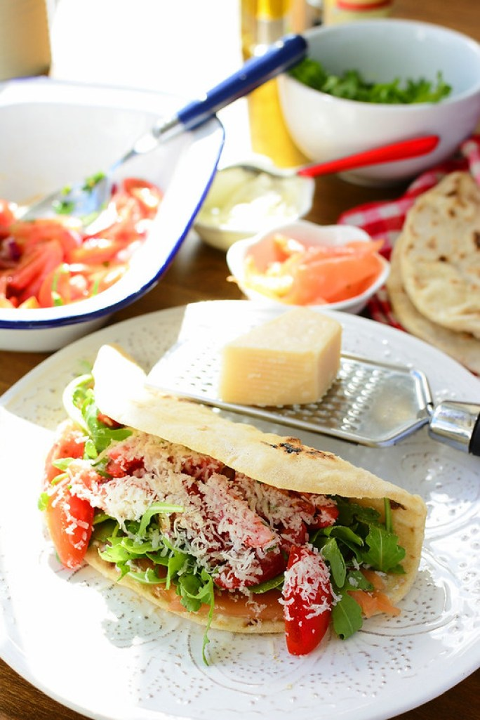 Smoked Salmon Piadina with Cream Cheese, Rocket and Tomato Salad