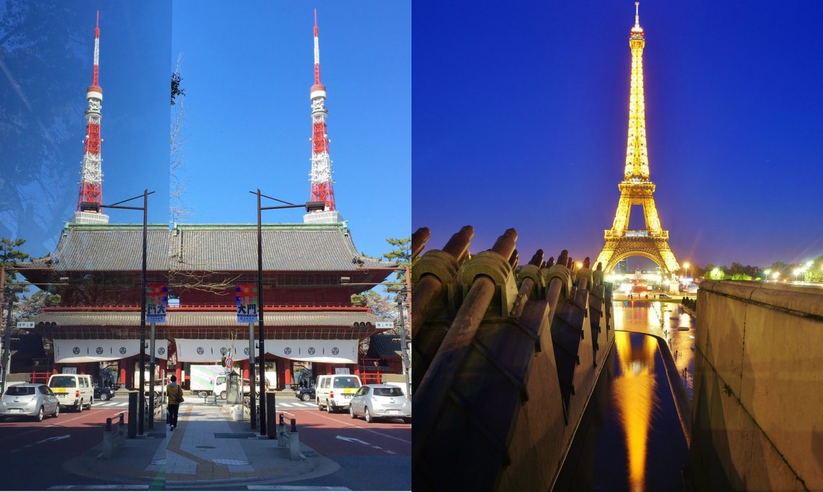 Reflections of Tokyo Tower and Eiffel Tower