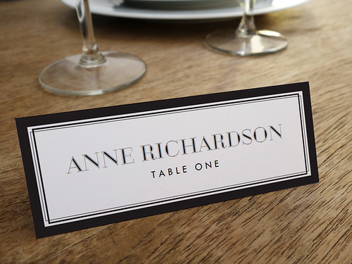 Black border classic-style printable place card template