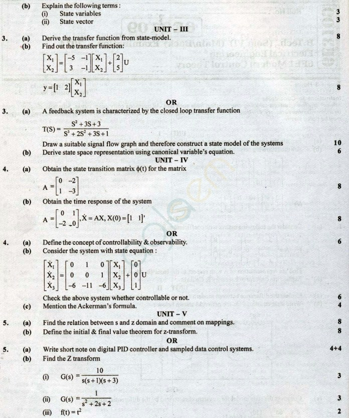 RTU: Question Papers – 6 Semester – EE
