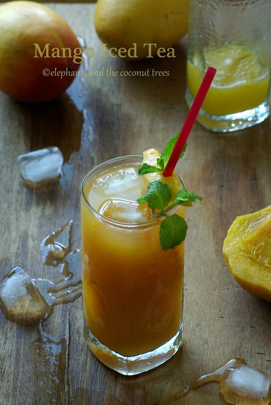 mango iced tea, delicious fruit flavored tea.