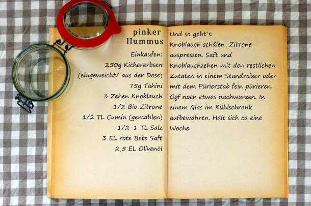 Einkaufszettel pinker Hummus by Glasgeflüster