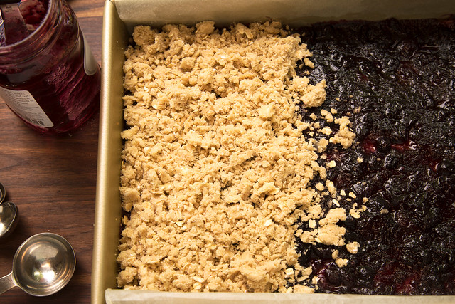 topping preserves with crumble
