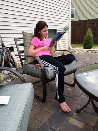 Reading on the patio...