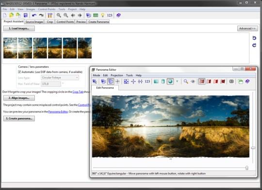 Een screenshot van PTgui - dedicated voor het maken van (complexe) panorama's