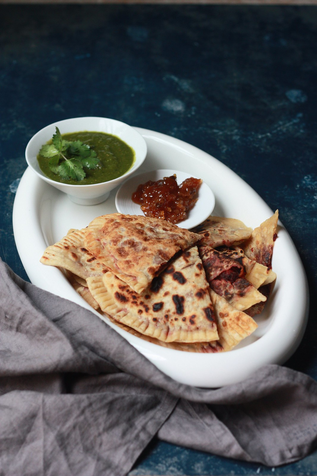 Beet Lifafa(Envelope) Parathas with Apple Cilantro Chutney