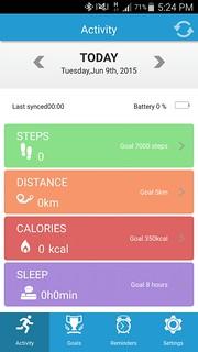 User Interface ของ ZeWatch 2 app บน Android