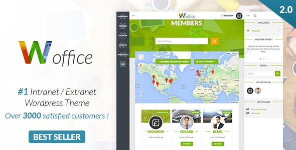 Woffice v2.4.5 - Intranet/Extranet WordPress Theme