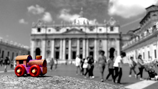 little wooden train in Vatican