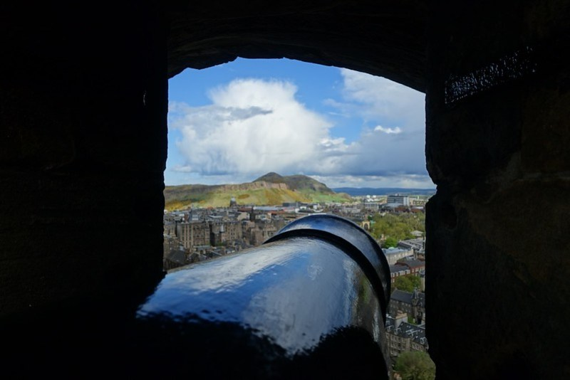 Arthur's Seat, through a cannon-port at Edinburgh Castle