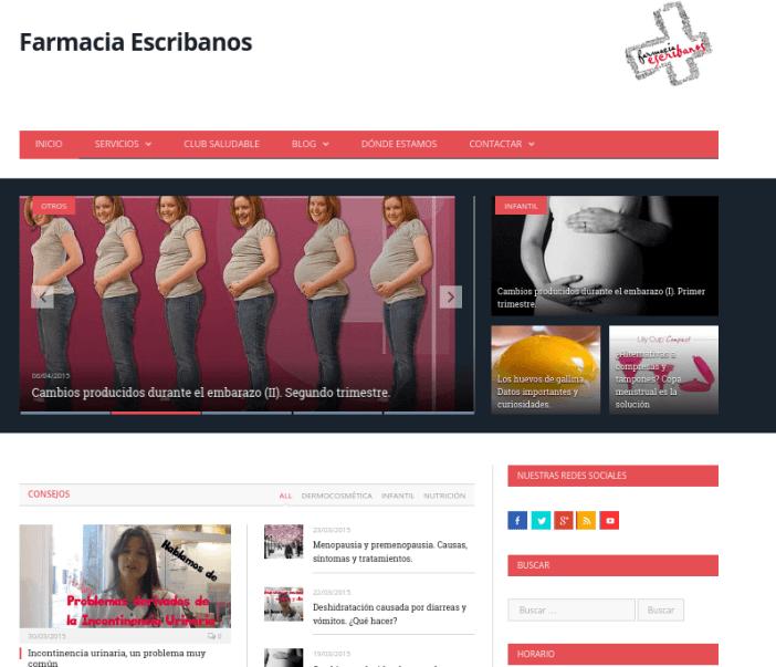 página web farmacia escribanos