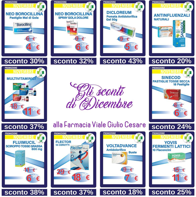 Farmaci e prodotti della Farmacia in sconto nel mese di dicembre Farmacia Viale Giulio cesare a Novara
