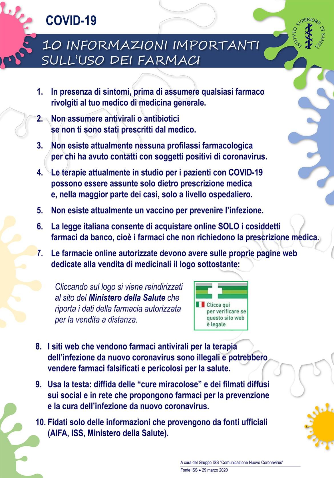 Decalogo Istituto Superiore Sanità Coronavirus Covid-19 farmaci antivirali