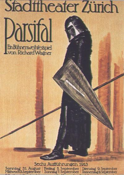 Cartel que anuncia la representación de Parsifal en Zurich, 1913.