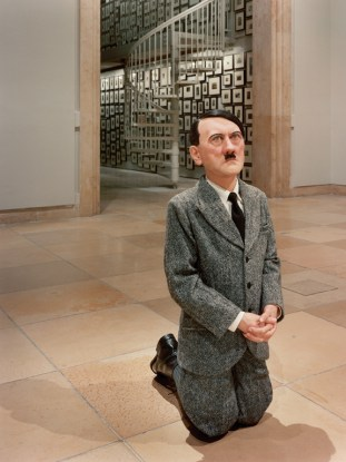 Maurizio Cattelan: Him (http://www.telegraph.co.uk/history/world-war-two/9770081/Adolf-Hitler-praying-statue-causes-controversy-in-Warsaw.html)