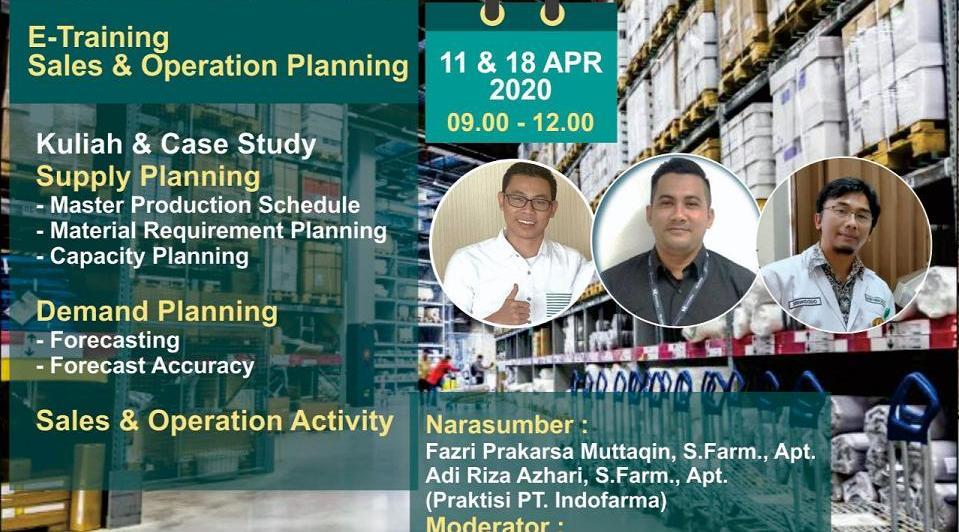 "Pelaksanaan eTraining oleh Program Profesi Apoteker dengan tema ""Sales and Operation Planning"""