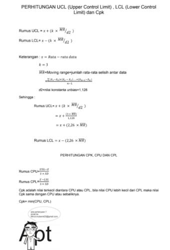 Perhitungan CpK dan LCL