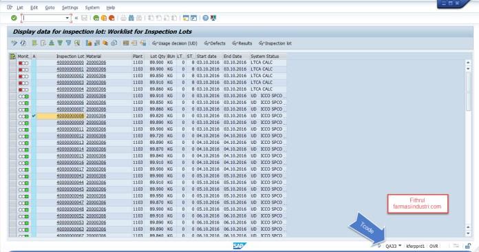 QA33 melihat nomer laporan analisis