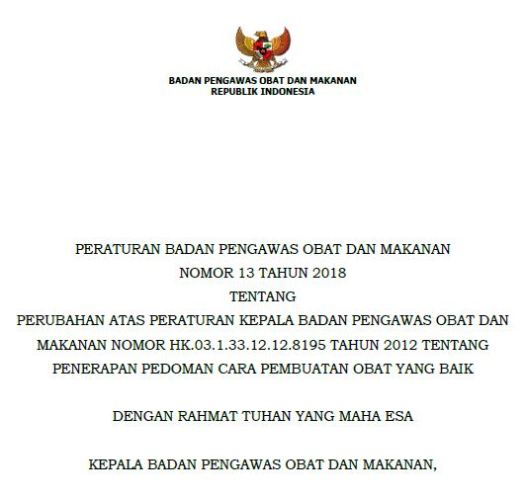 Daftar Perubahan CPOB 2012 menjadi CPOB 2018