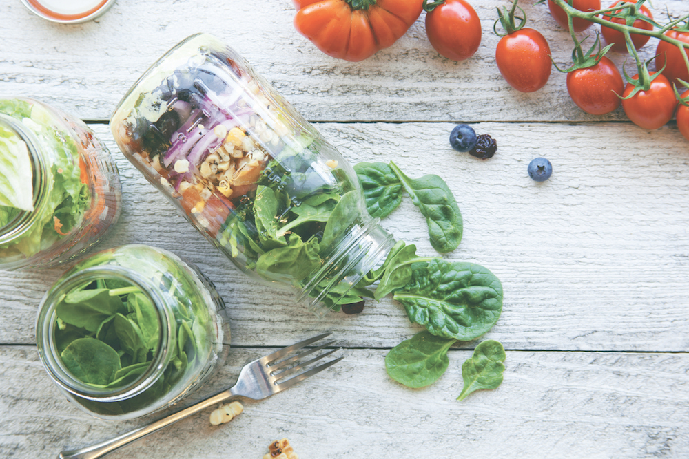 Arugula, Corn, Radish, and Pickled Red Cabbage Mason Jar Salads