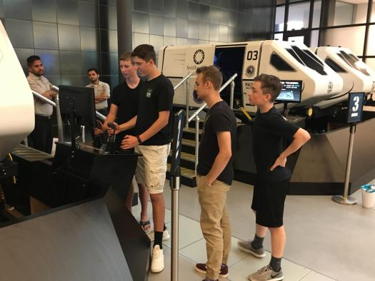 Cadets practicing before their ride in the simulator