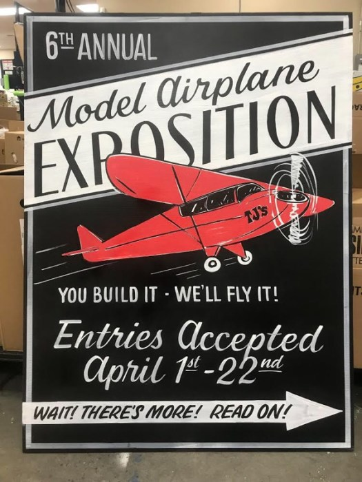 Model airplane expo at trader joes sign