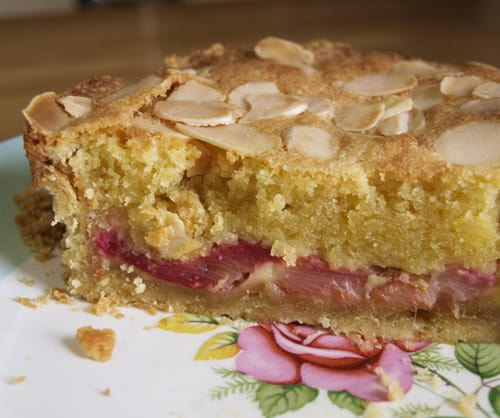 A delicious crisp pastry tart filled with sweet roasted rhubarb and almond frangipane sponge