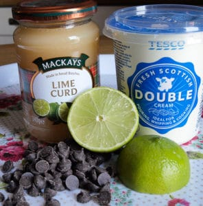 Ingredients for Chocolate Lime Ice Cram