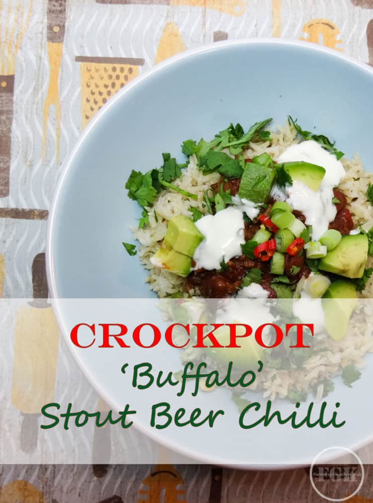 Slow Cooker Buffalo Stout Chilli - a rich and delicious recipe for the crockpot