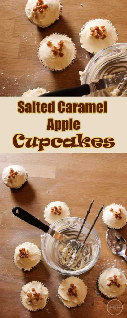 Salted Caramel Apple Cupcakes are soft sponge cupcakes filled with apple pie filling and topped with salted caramel frosting