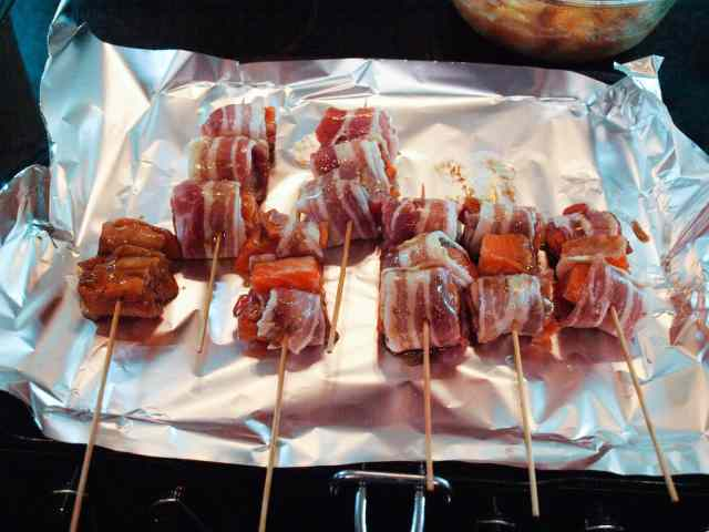 Bacon Wrapped Trout Kebabs