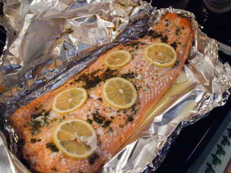 A simple way to feed a crowd, Salmon baked with Herbs