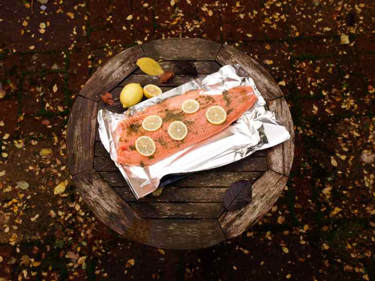 Feed a crowd easily with this simple Salmon Baked with Herbs and lemon