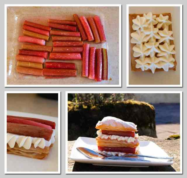 A pictorial guide to the recipe for Easy Rhubarb Millefeuille