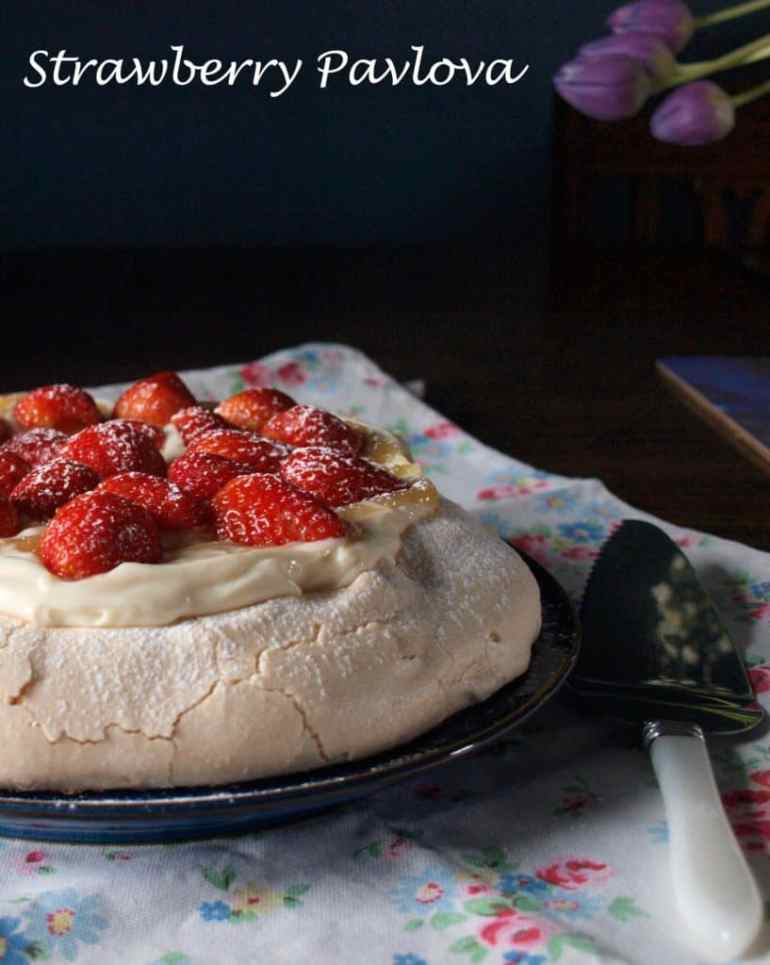 A sensational strawberry pavlova which just loves summer fruit
