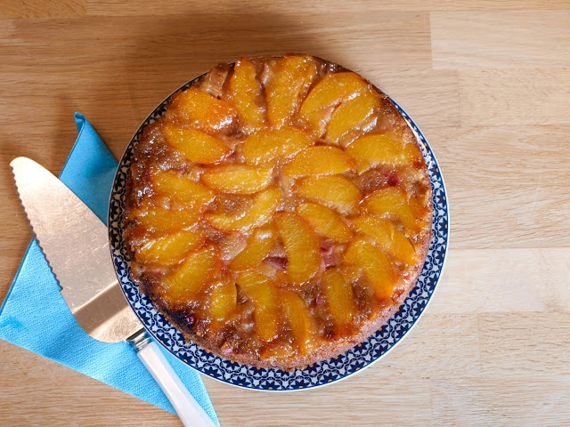Turn out your Peach and Rhubarb Upside Down Cake, so pretty!