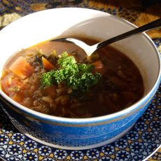 Moroccan Spicy Kale and Rice Soup
