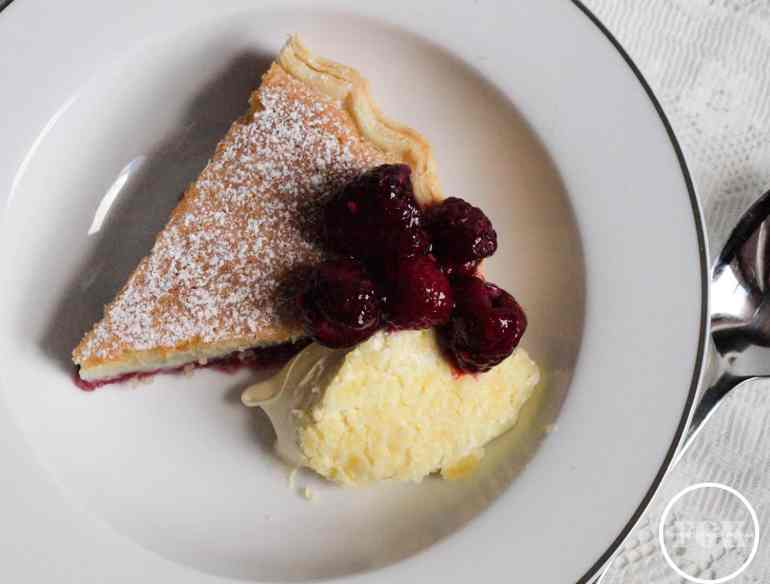 Bakewell Pudding with Raspberries and Clotted Cream
