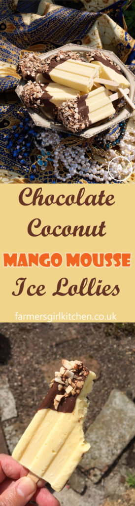 Chocolate Coconut Mango Mousse Ice Lollies - creamy frozen mango mousse, dipped in chocolate and toasted coconut to make an exotic treat!