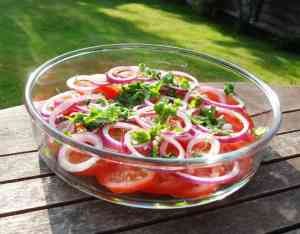 Tomato, Onion and Coriander Salad