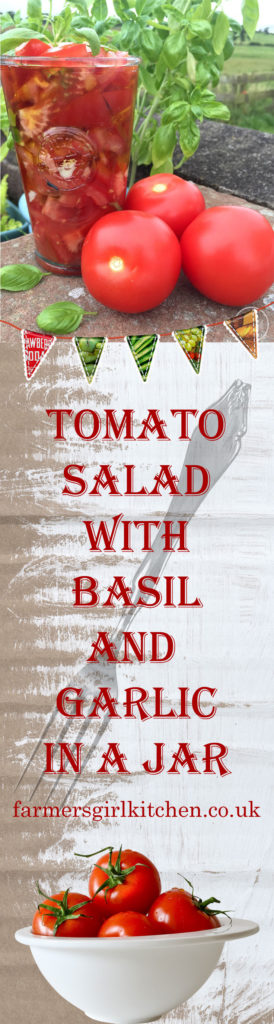Tomato Salad with Basil and Garlic in a Jar